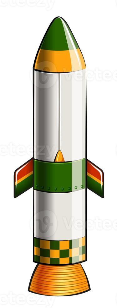 en grön och gul färgad raket foto