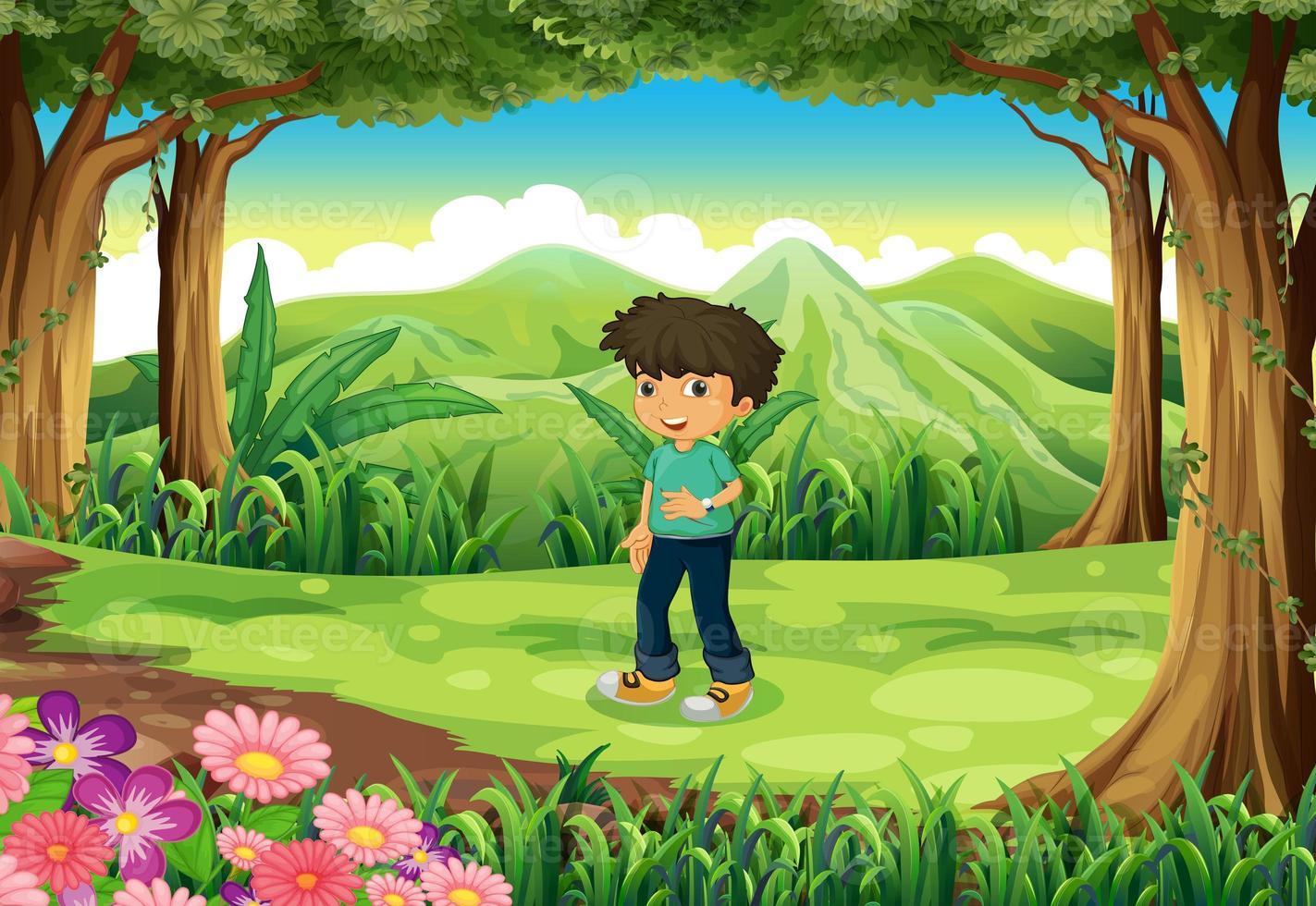 en ung gentleman vid skogen foto