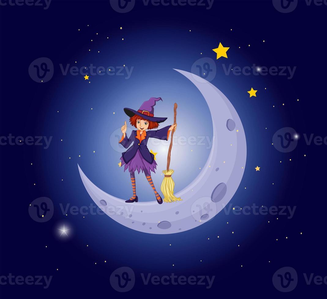 en vacker häxa nära månen foto