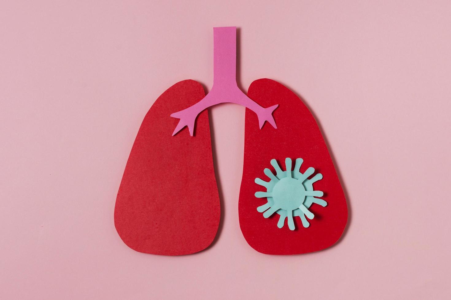 covid koncept med röda lungor platt låg foto