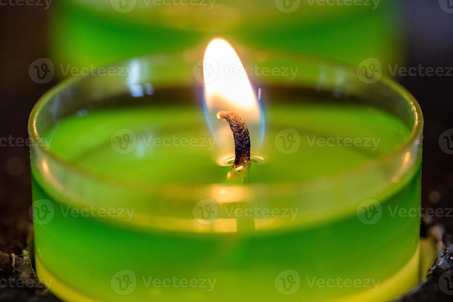 grönt te ljus foto