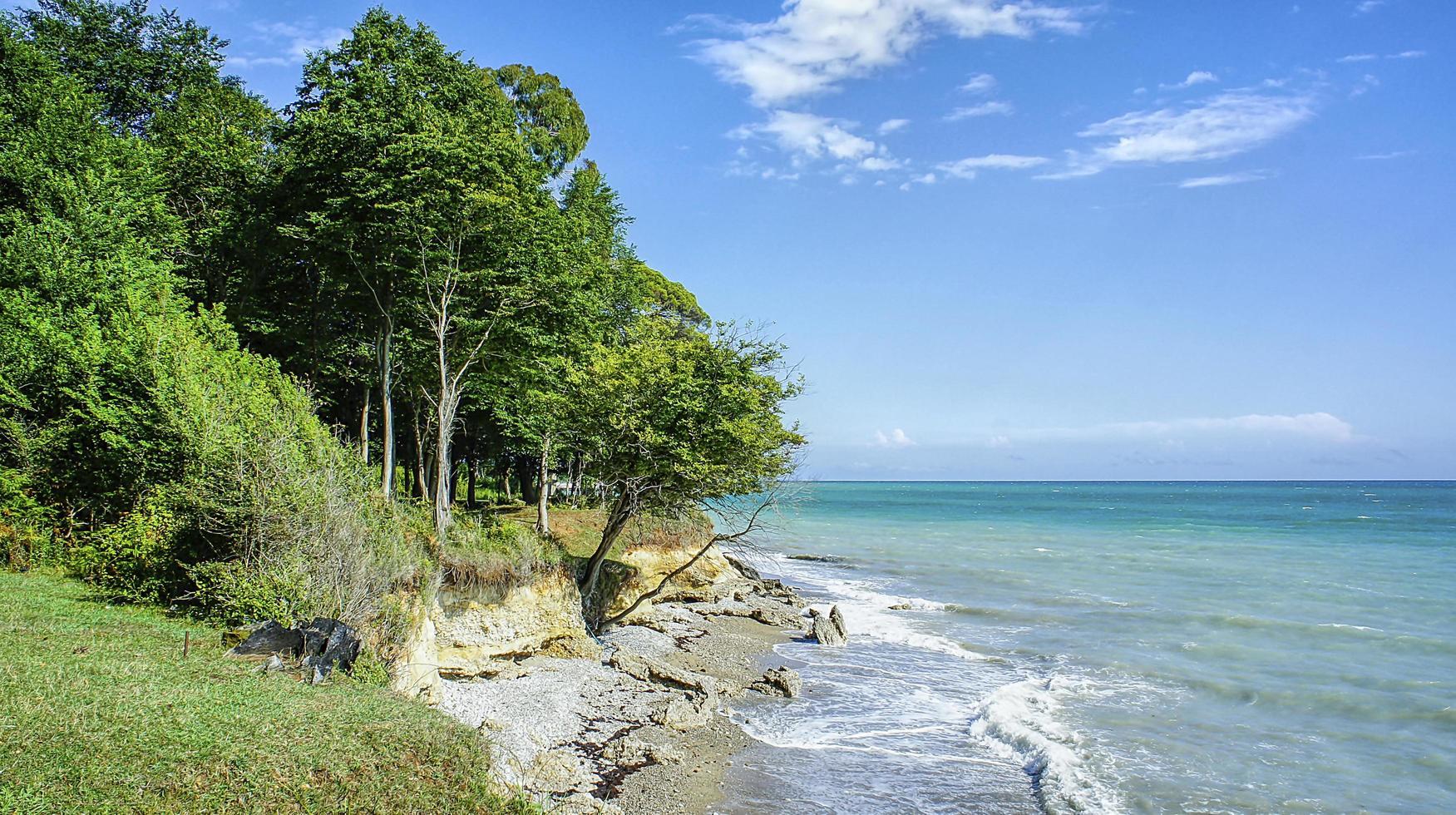 marinmålning med en stenstrand i Abchazien foto