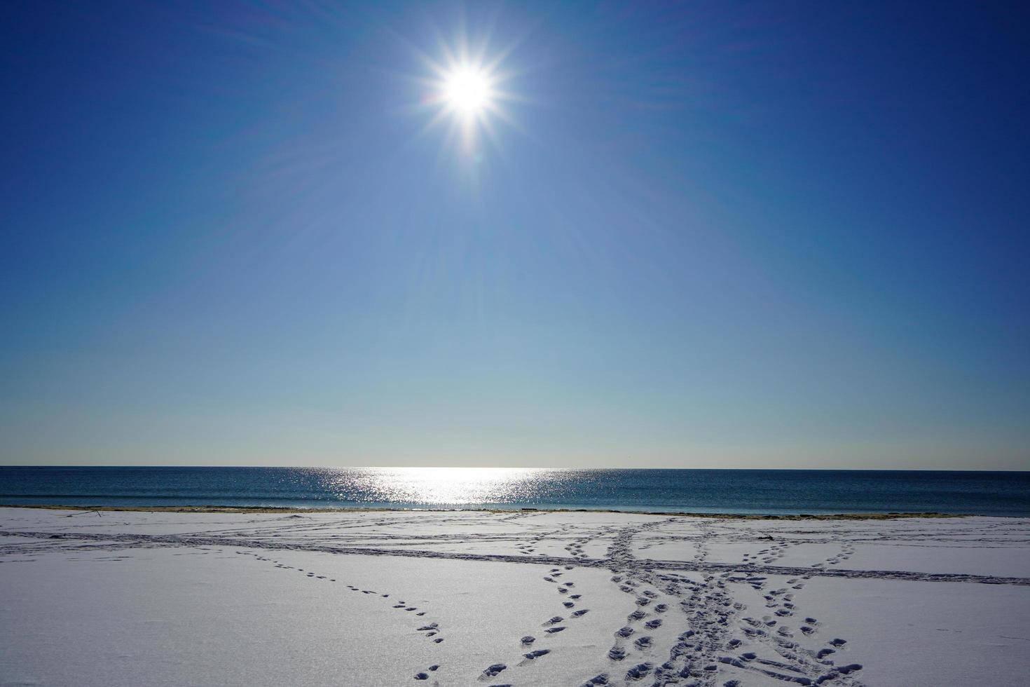 marinmålning med en strand i snö och ljus sol foto