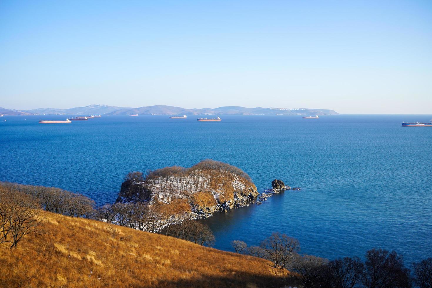 marinmålning med utsikt över Nakhodka-bukten och fartyg foto