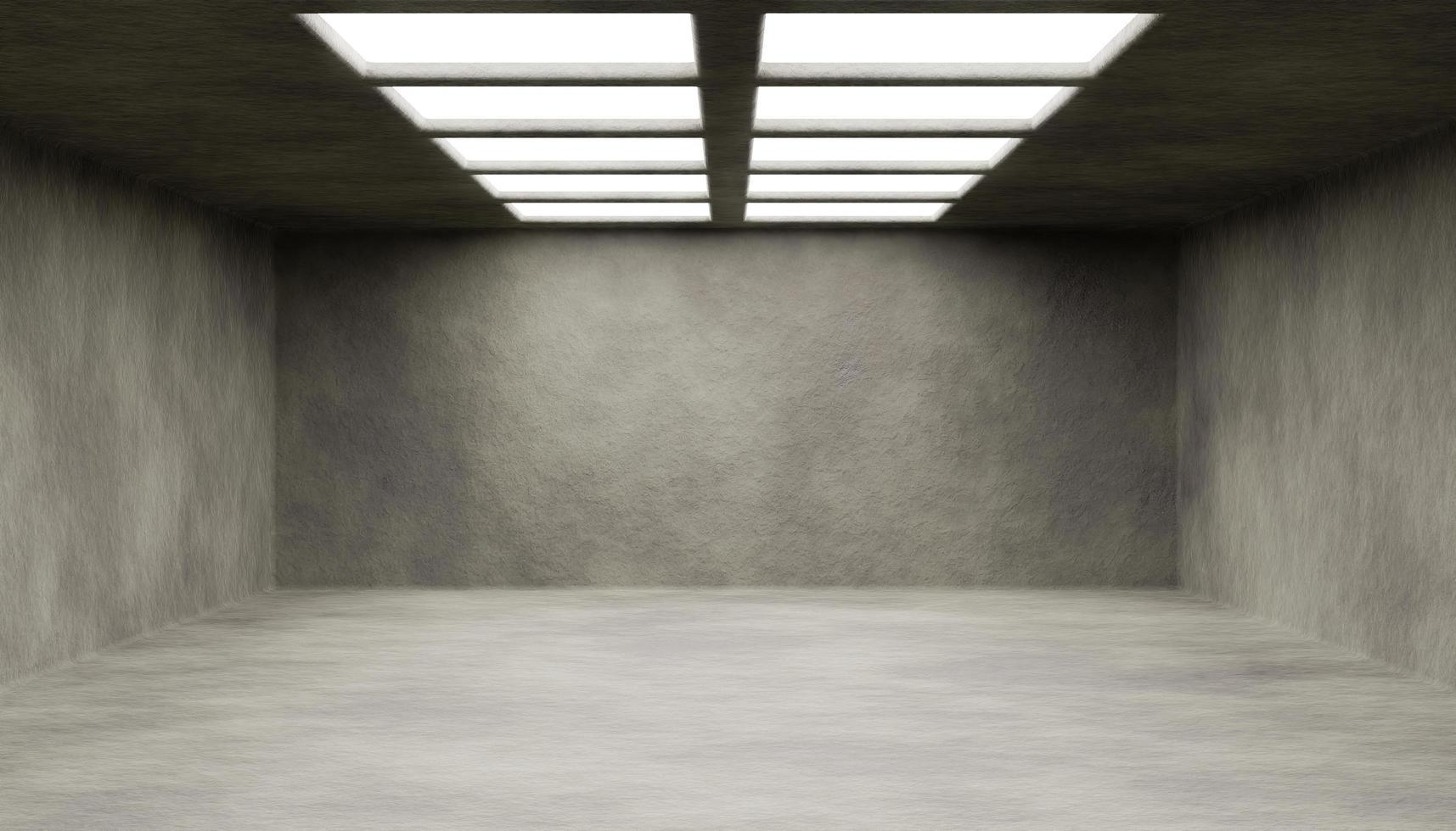 tomt abstrakt rum med upplysta takfönster. 3d-rendering foto