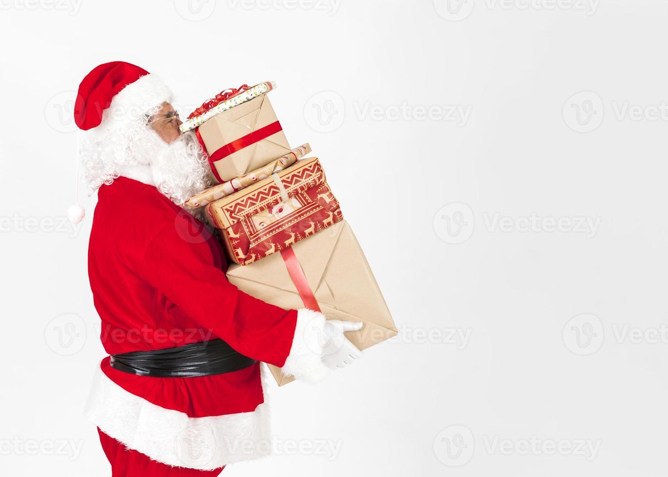 jultomten med julklappar foto