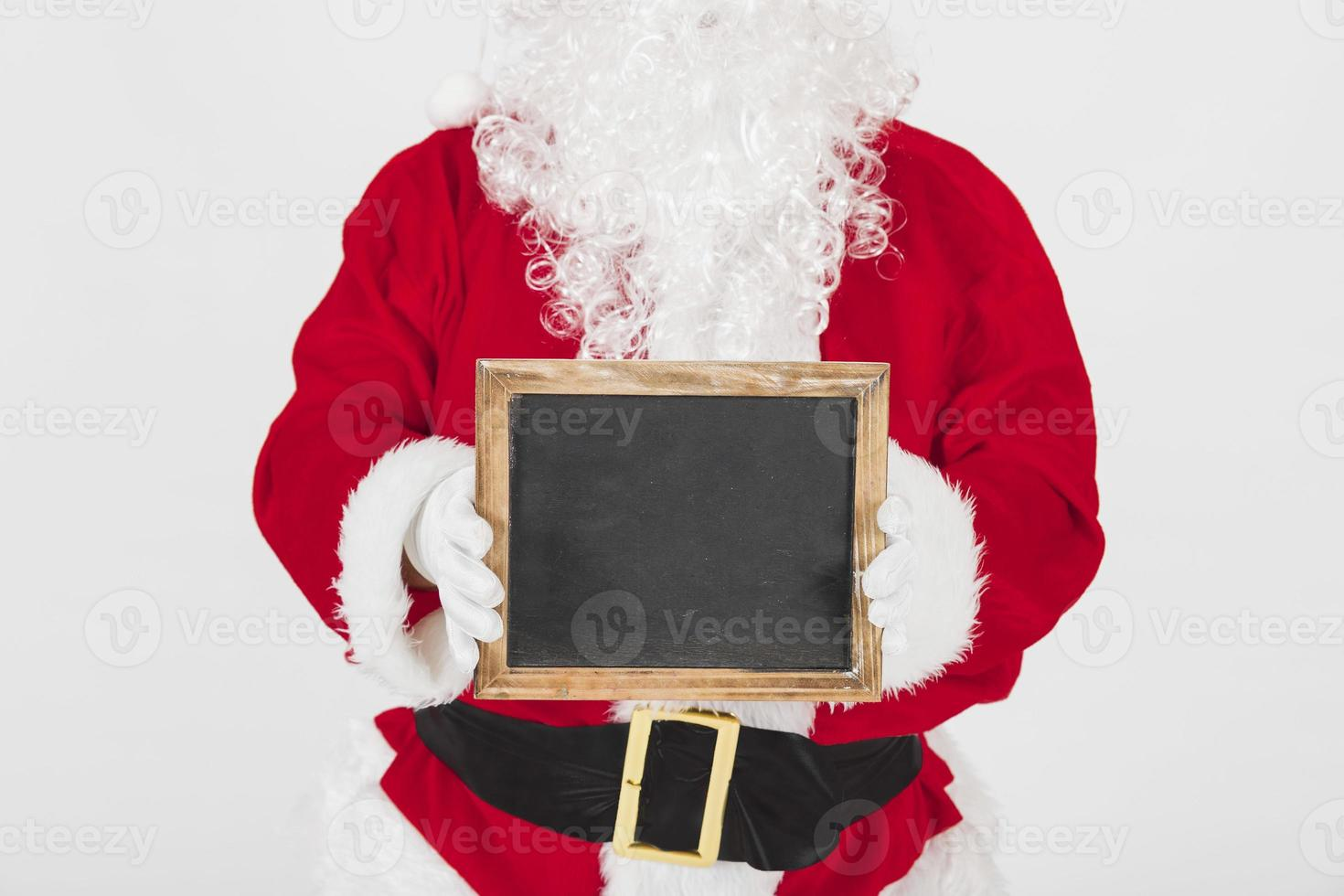 jultomten visar tom träram foto