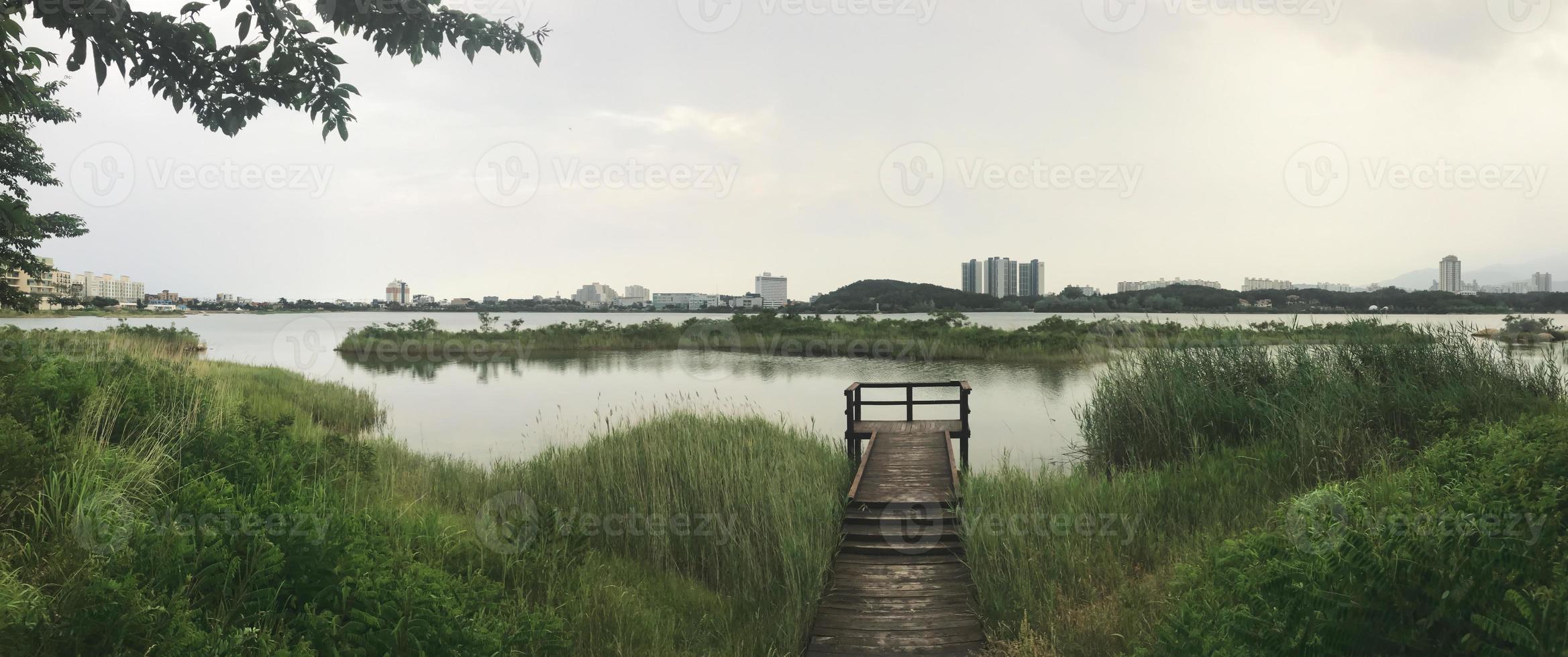 panorama. träbryggan bevuxen med vass vid sjön i staden Sokcho. Sydkorea foto