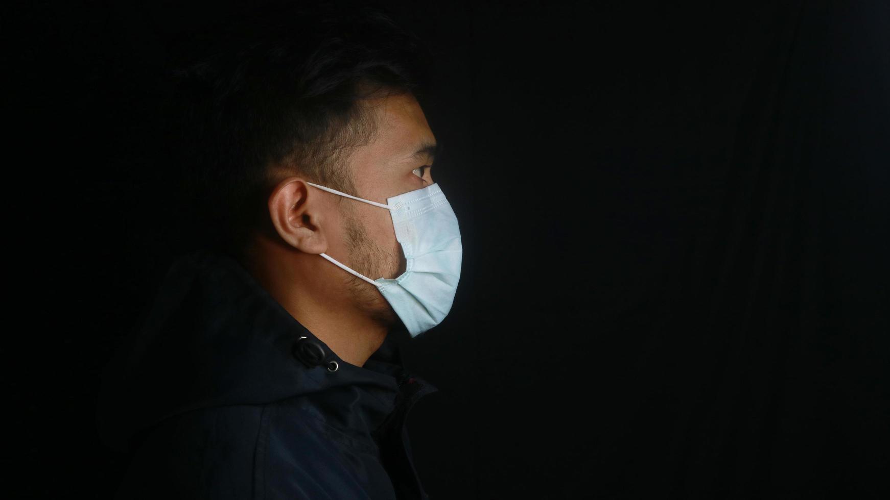asiatisk man som bär den skyddande masken som isoleras över bakgrund foto