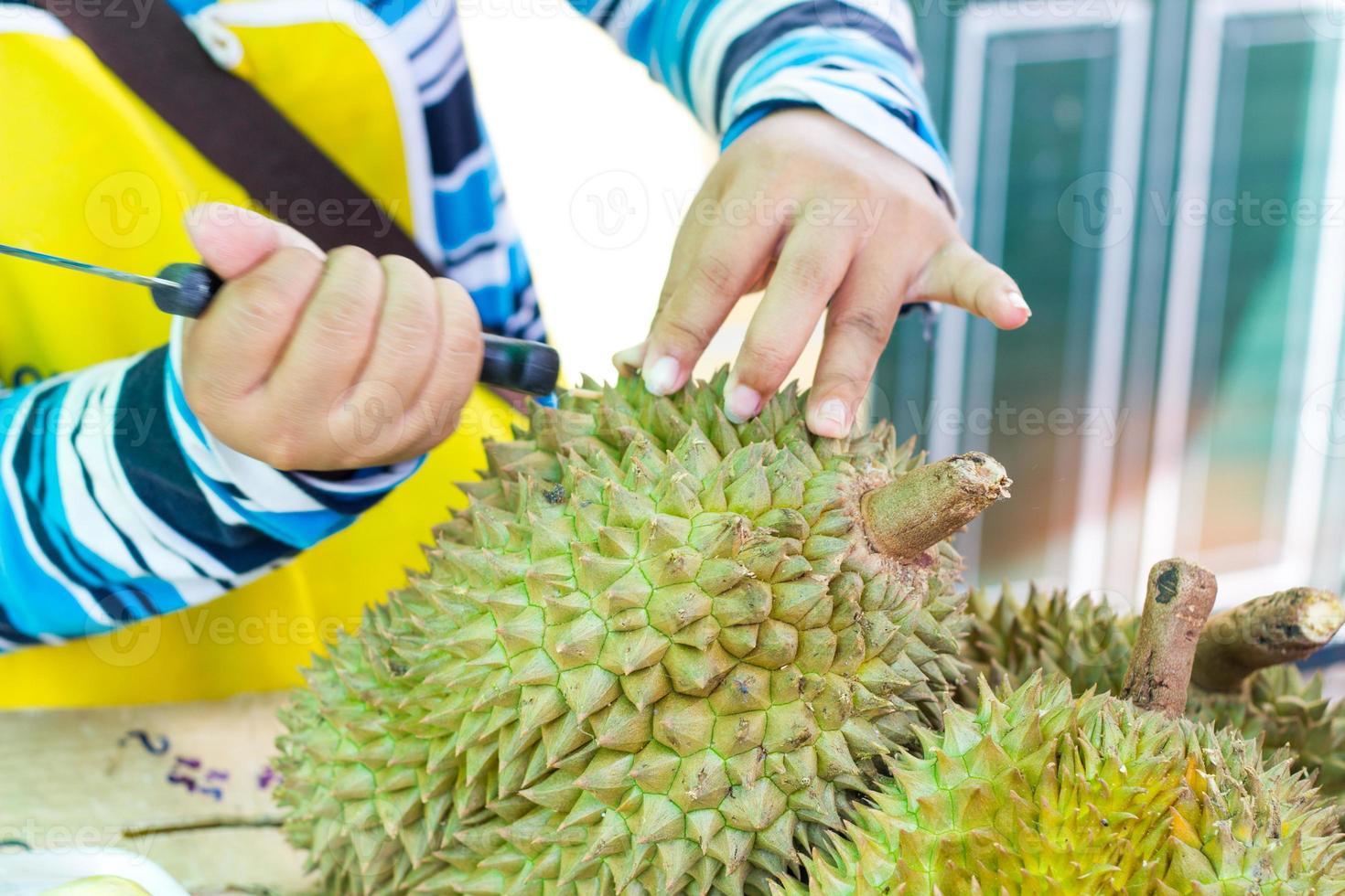 händer av kvinna som tar bort durianskal foto