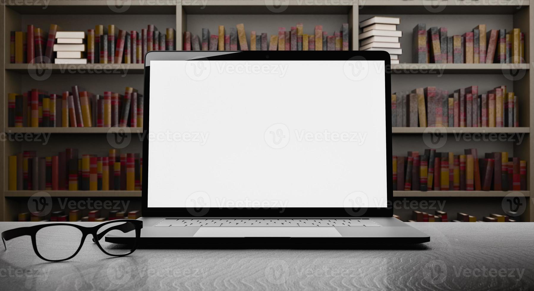 bärbar dator med bibliotek i bakgrunden foto