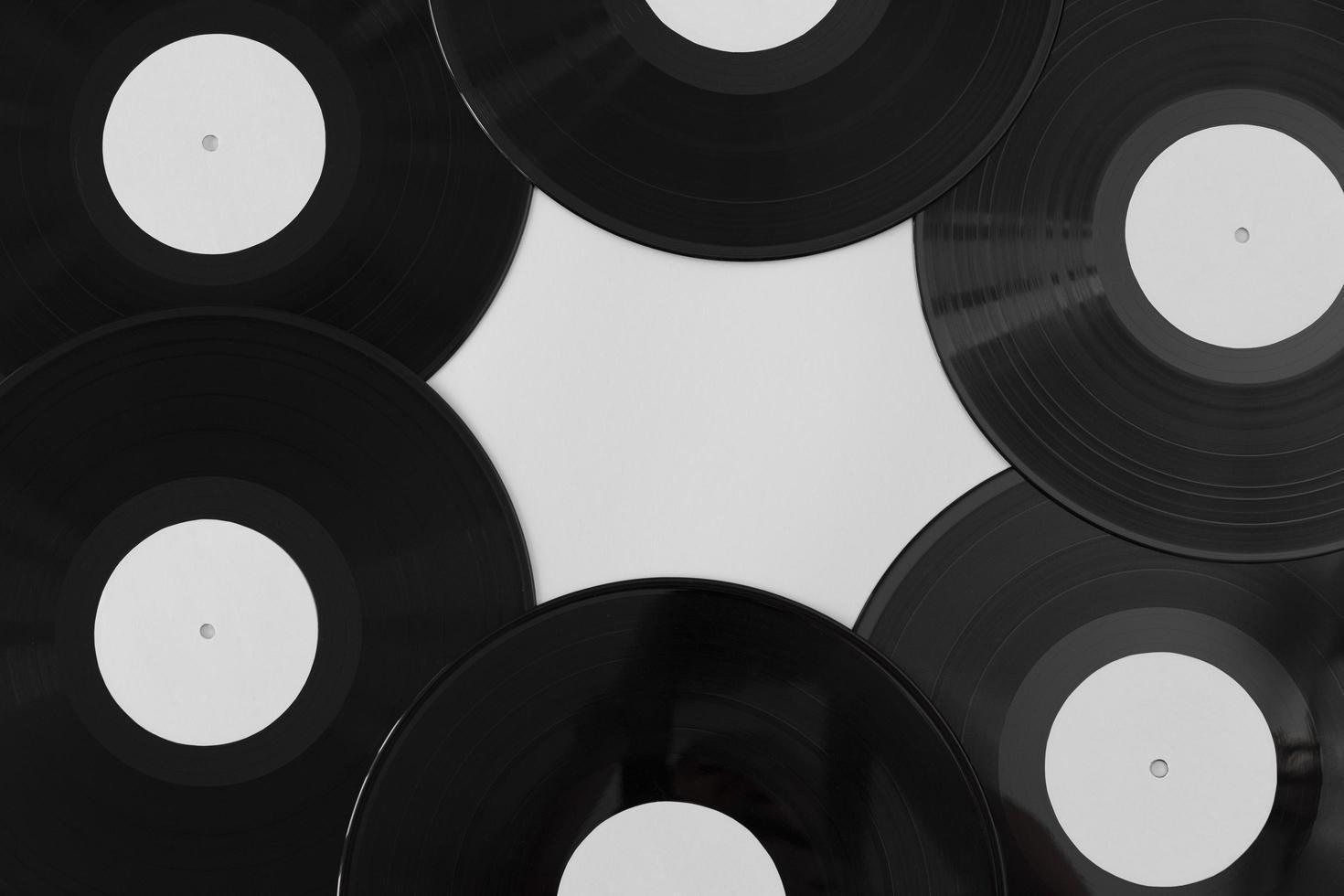 ovanifrån vinylskivarrangemang foto