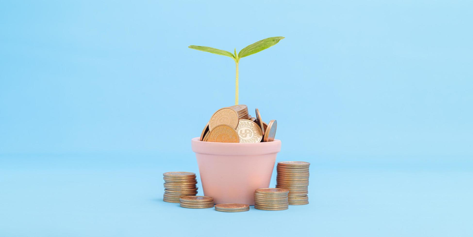 koncept lager investering samla pengar staplade mynt foto