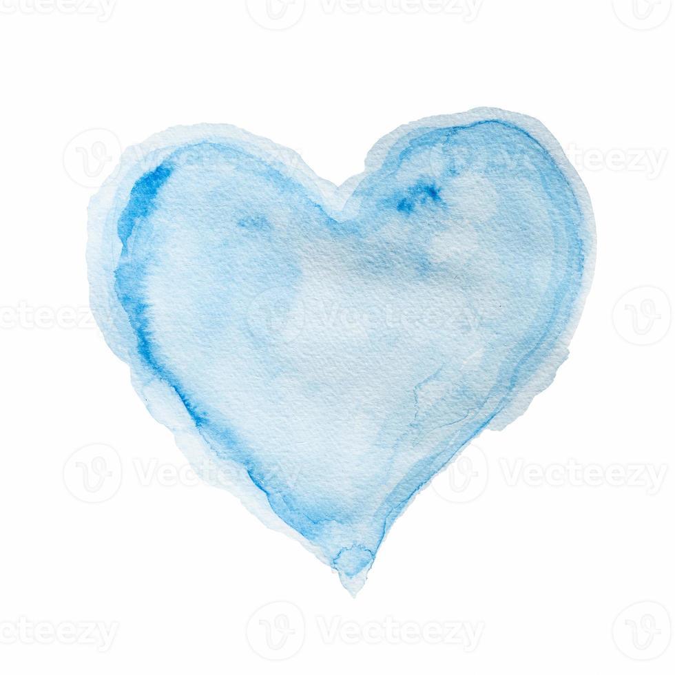 akvarell blå hjärta foto