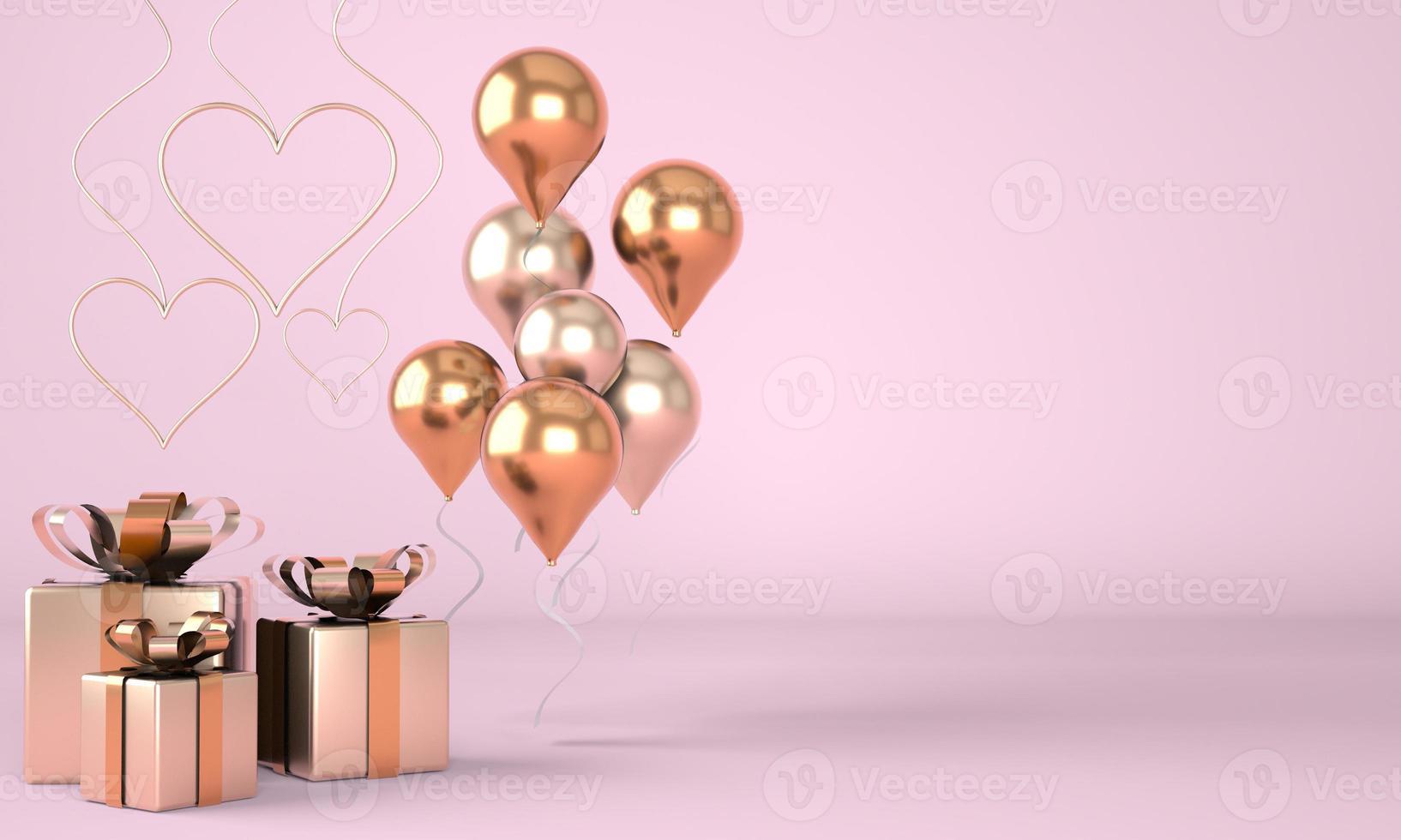 alla hjärtans dag. bakgrund med realistiska festliga presentaskar. romantisk present. gyllene hjärtan. 3d. foto