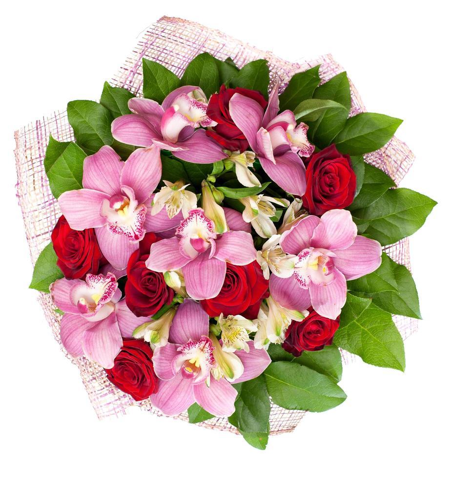 bukett från orkidéer och rosor foto