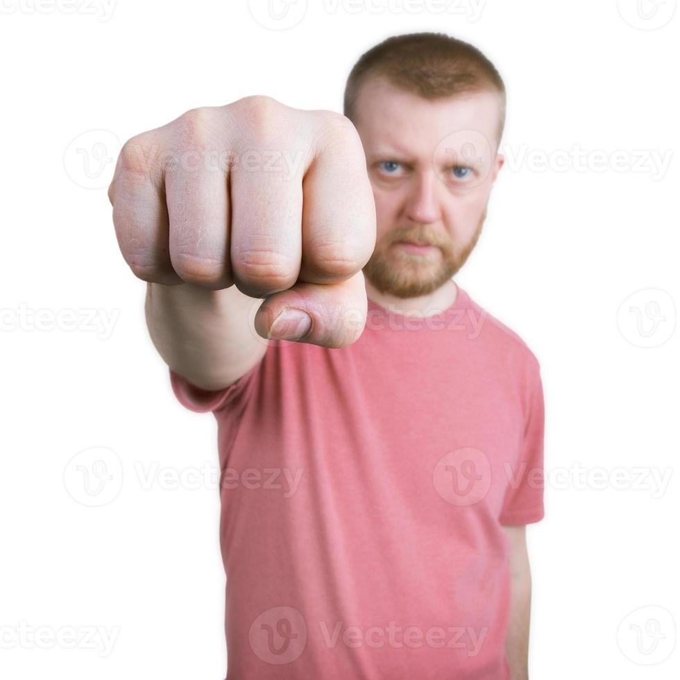 mannen räckte ut handen med knytnäve foto