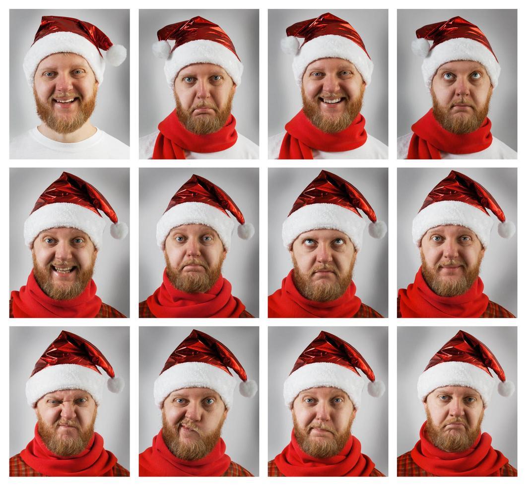 jultomten med olika känslor foto