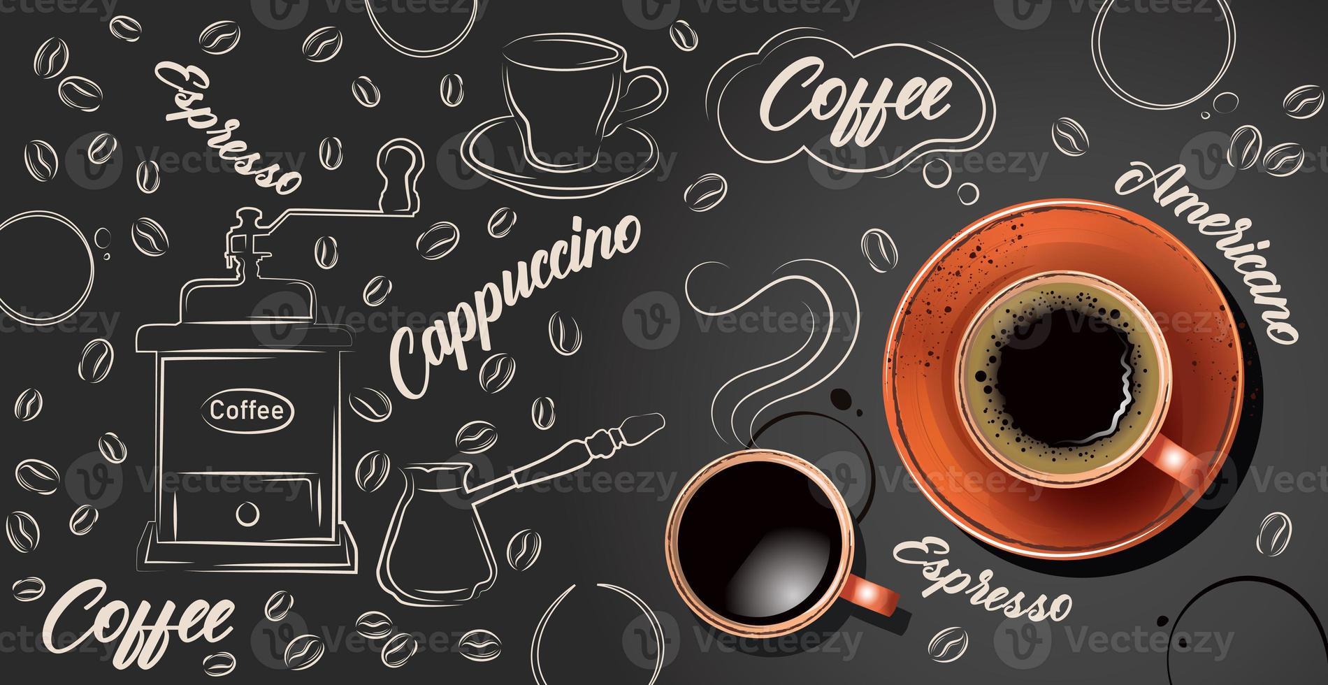 kaffe bakgrund med realistisk kopp kaffe - vektor foto