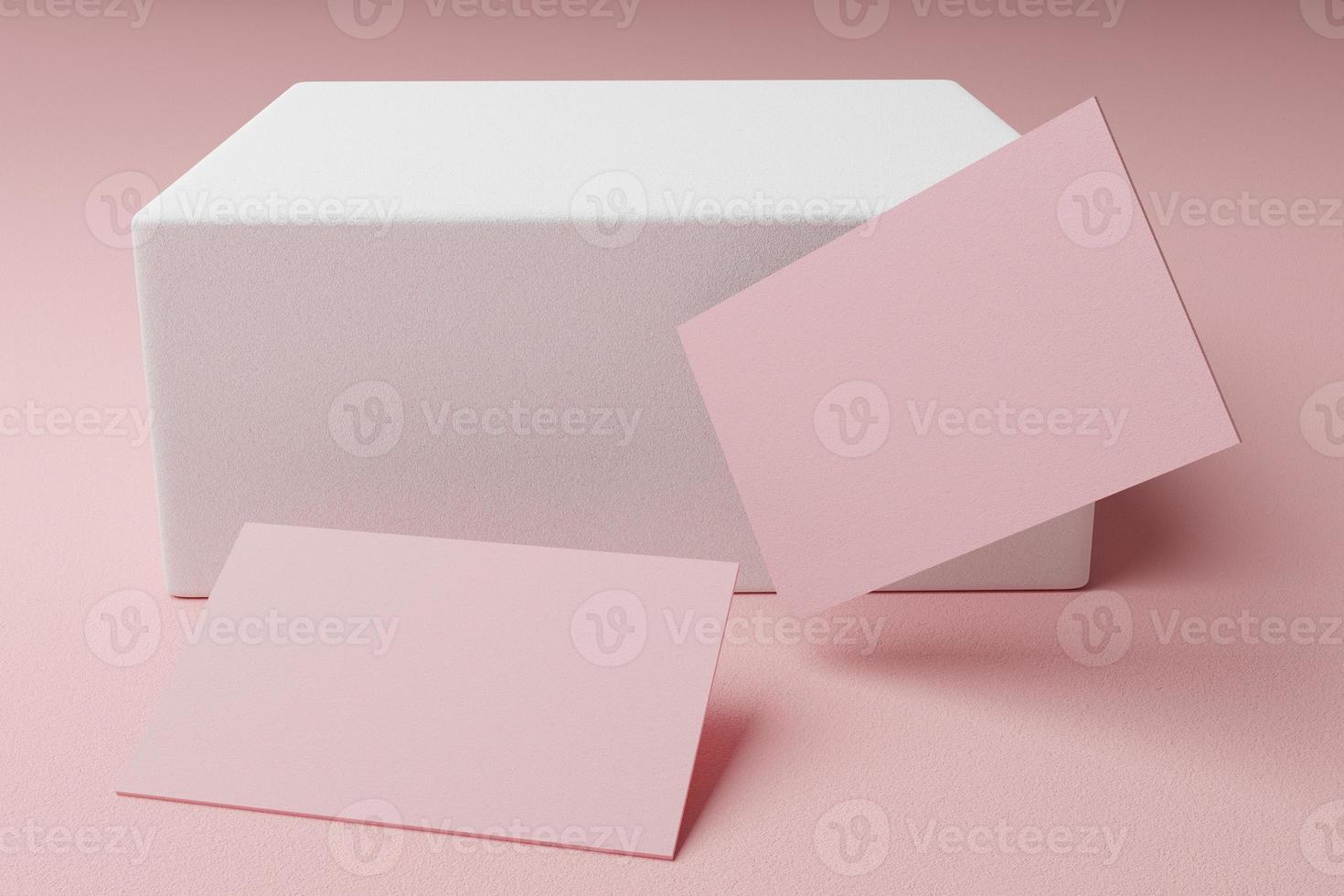 rosa pastell visitkort papper mockup mall med tomt utrymme lock för infoga företagets logotyp eller personlig identitet på kartong bakgrund. modern stil brevpapper koncept. 3d illustration render foto