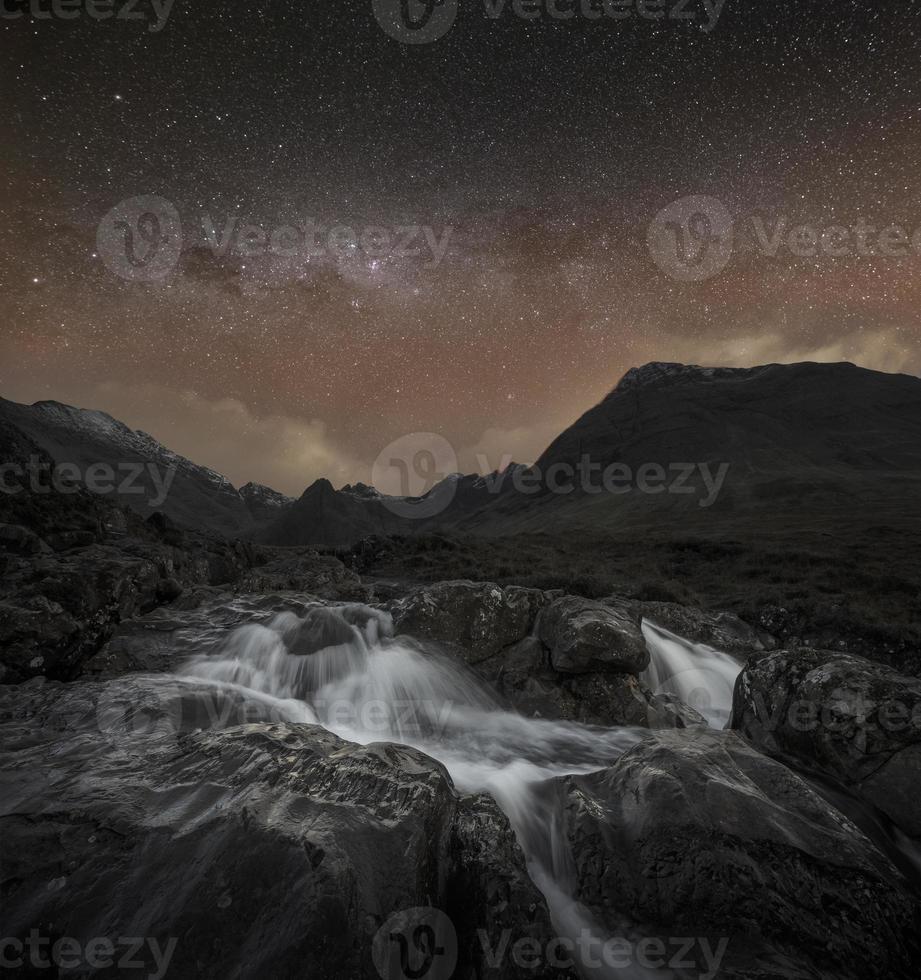berg och vattenfall foto