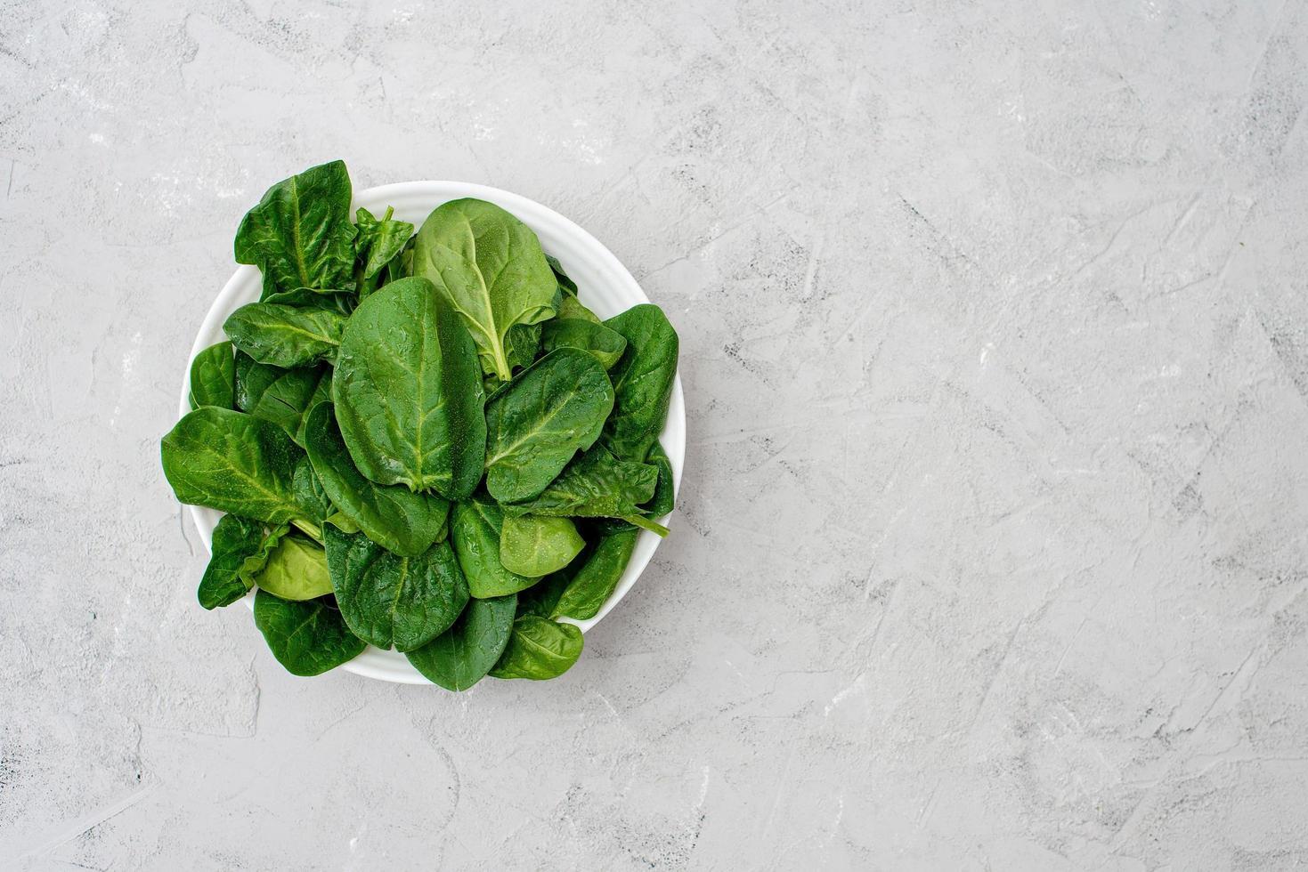 ren mat koncept. blad av färska ekologiska spenatgröna i en tallrik på en ljus bakgrund. hälsosam detox vår-sommar kost. vegansk rå mat. kopiera utrymme. foto