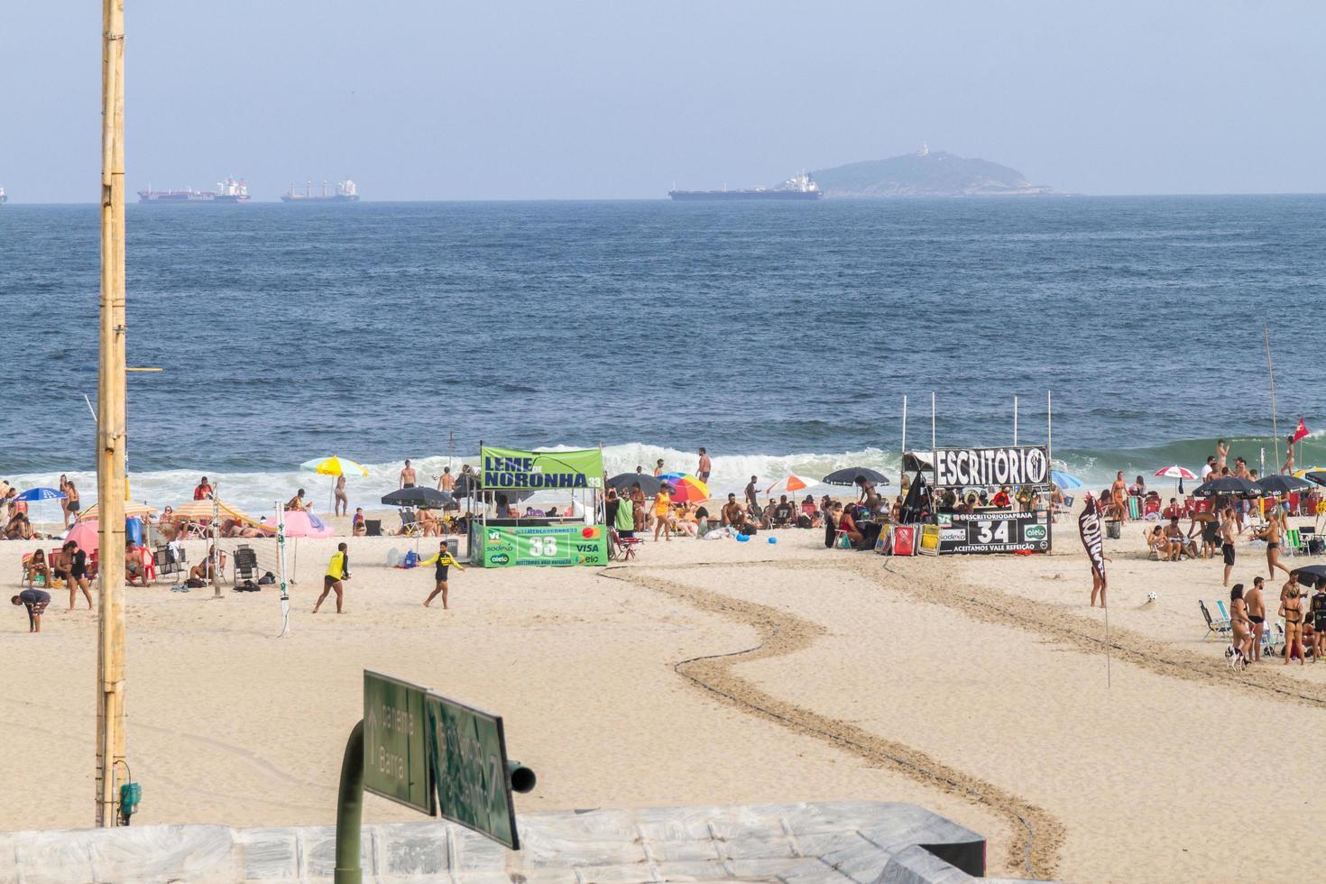 Rio de Janeiro, Brasilien, 01 januari 2015 - Leme Beach i Copacabana foto