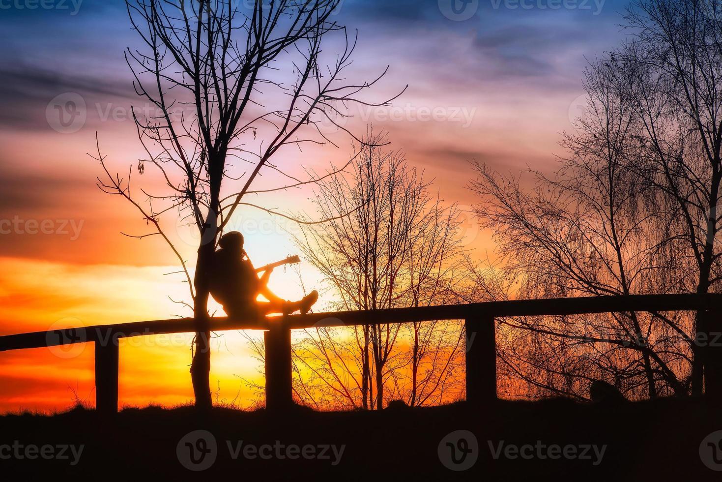 flicka som spelar gitarr på ett staket foto