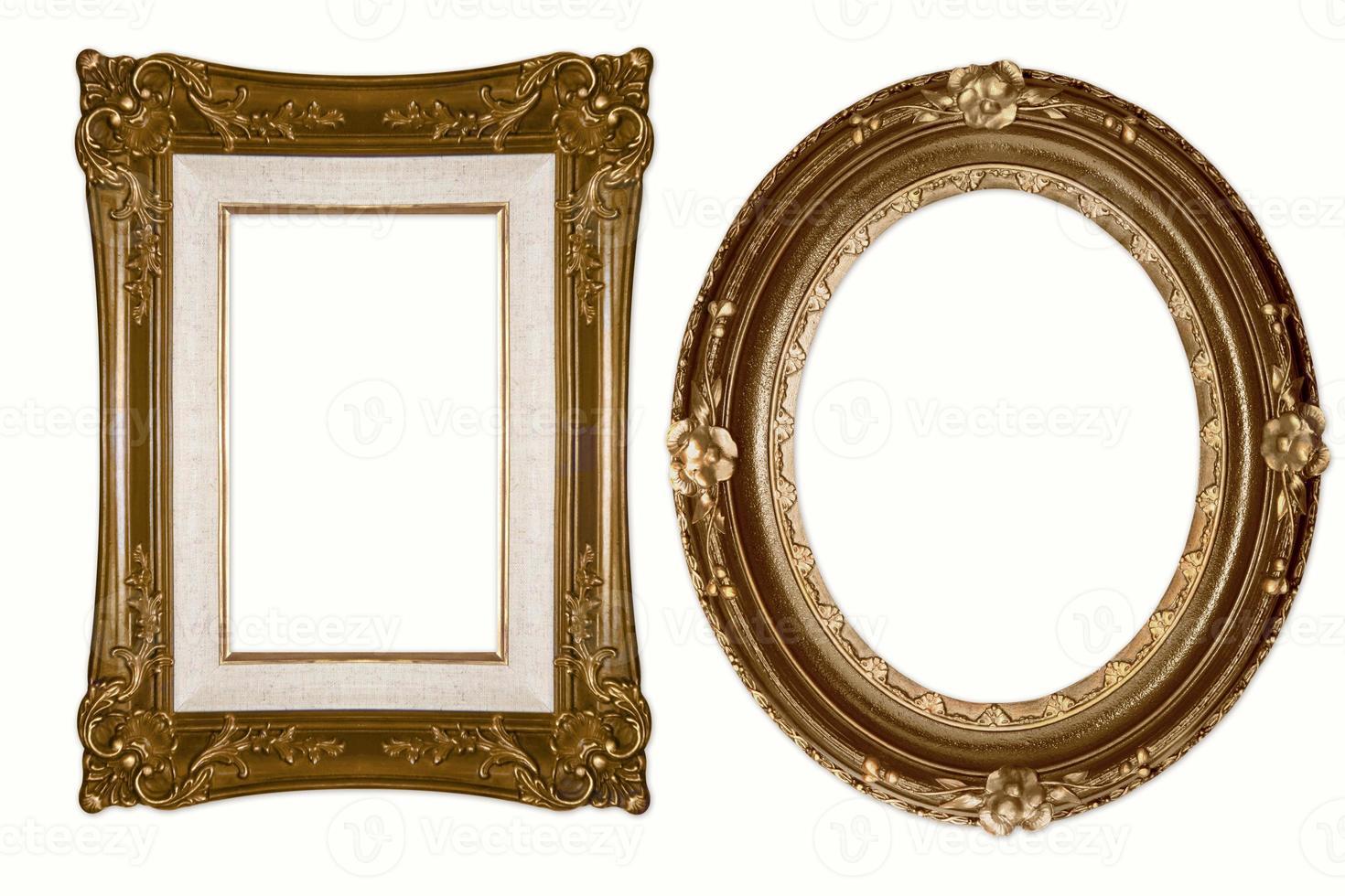 ovala och rektangulära dekorativa gyllene ramar foto
