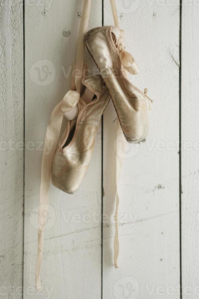 poserade pointe skor i naturligt ljus foto