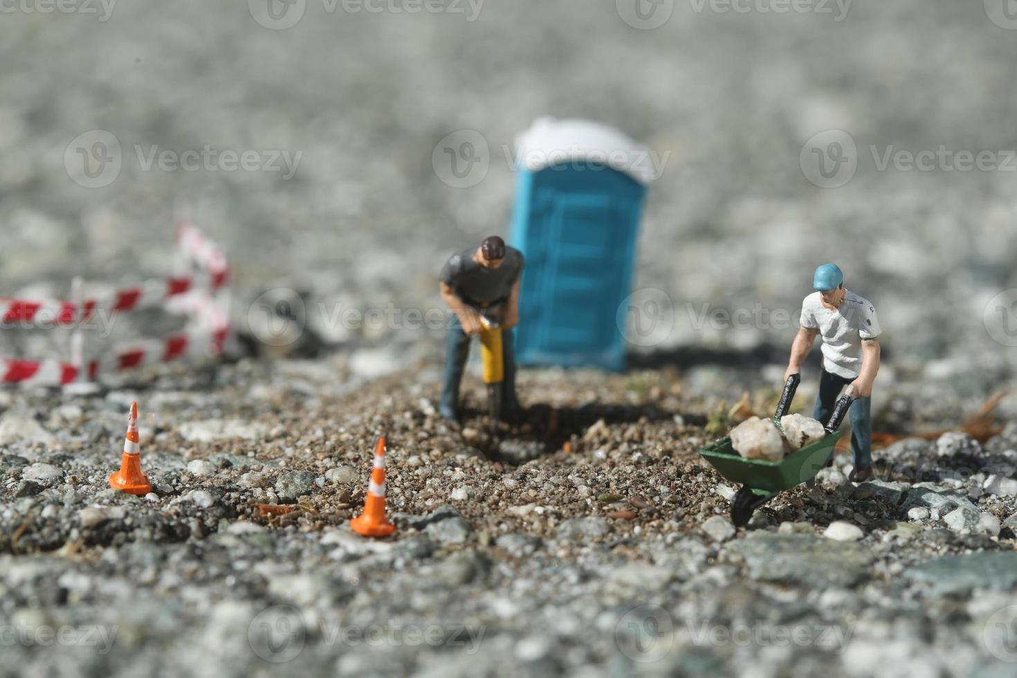 byggnadsarbetare på vägen foto