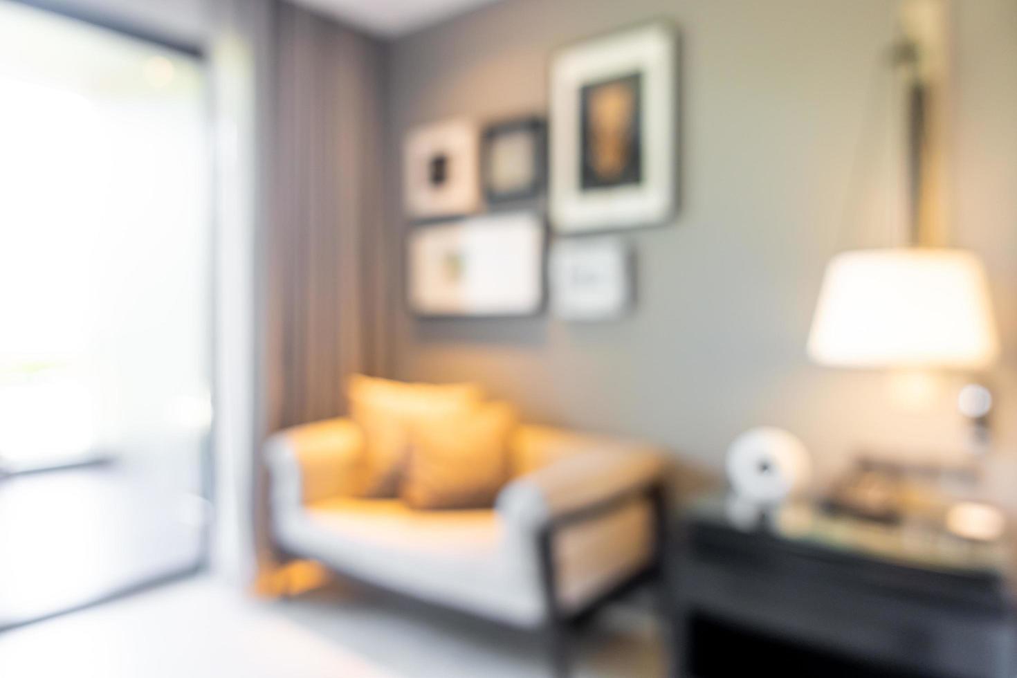abstrakt oskärpa och inriktad vardagsrumsinredning för bakgrund foto