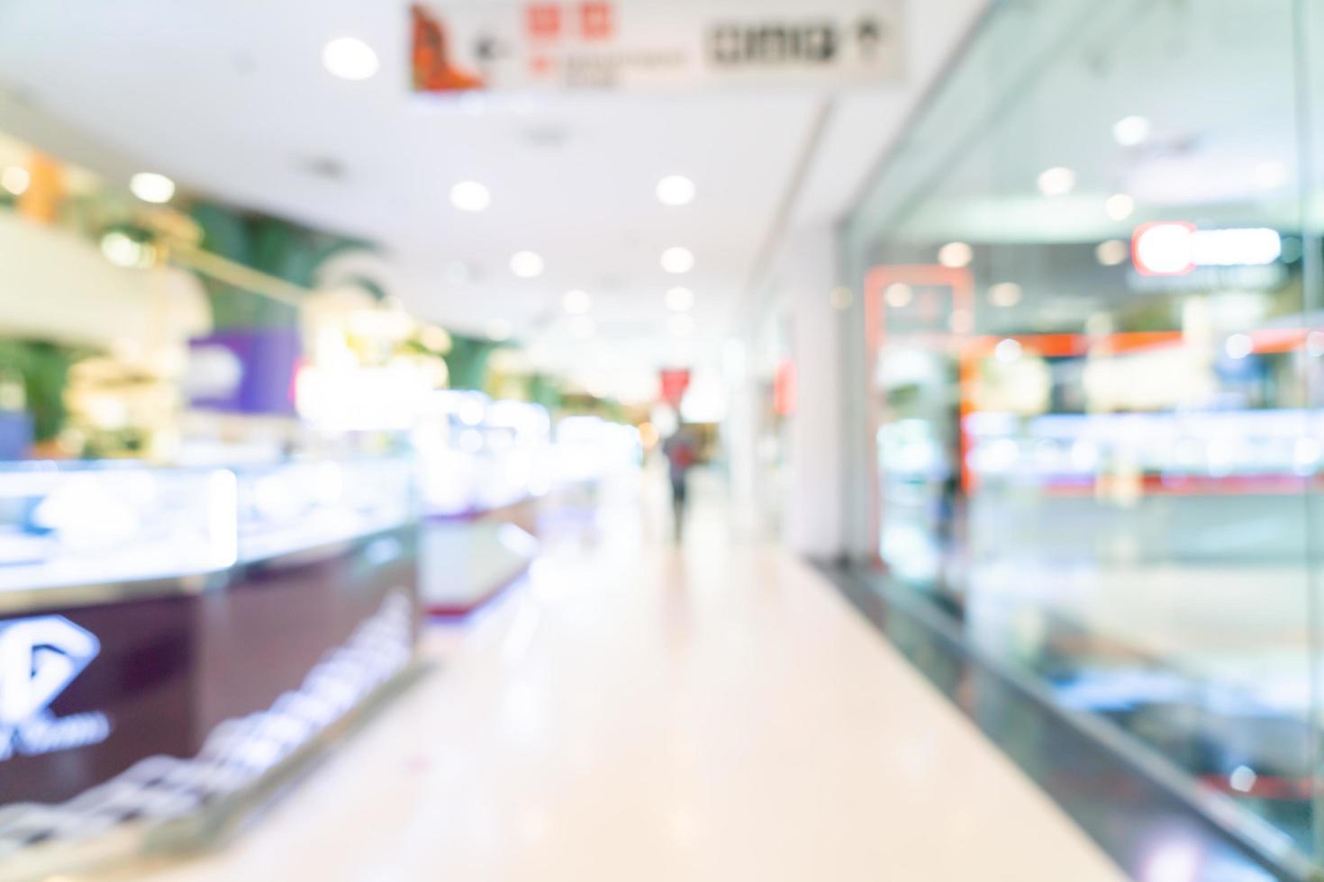 abstrakt oskärpa shoppar och butik i köpcentrum för bakgrund foto