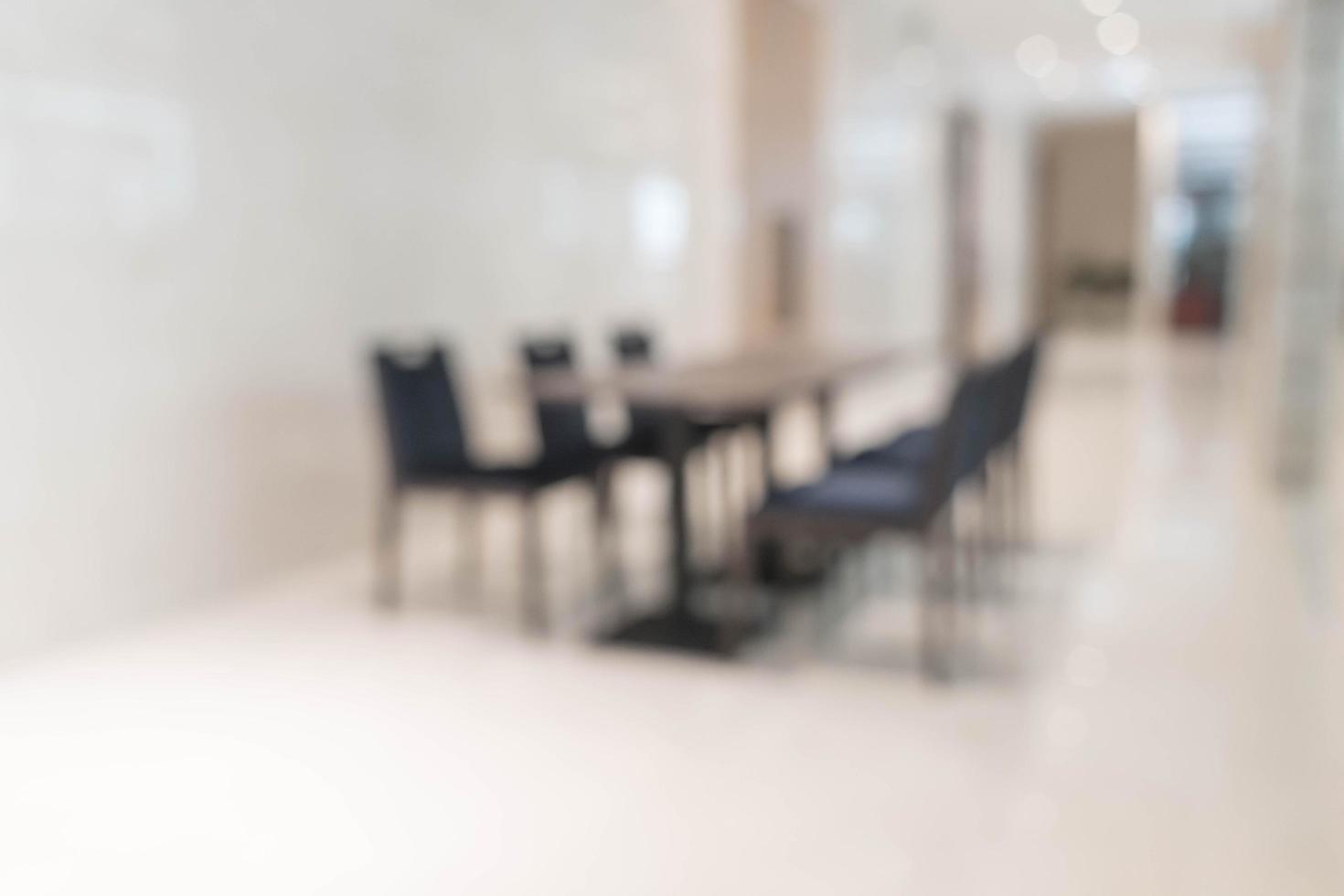 abstrakt suddighet tomt bord för matsal bakgrund foto