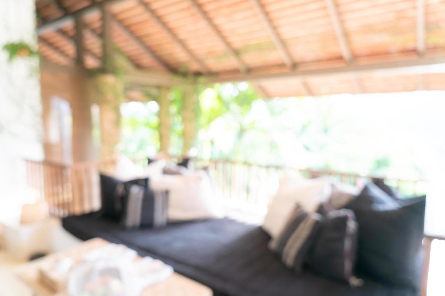 abstrakt oskärpa vardagsrumszon på balkongterrass för bakgrund foto