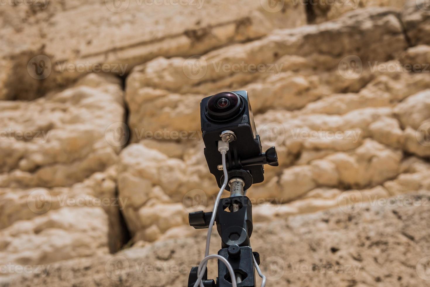360 -graders videokamerasystem i filmad produktion vid västra väggen i den gamla staden Jerusalem, Israel foto