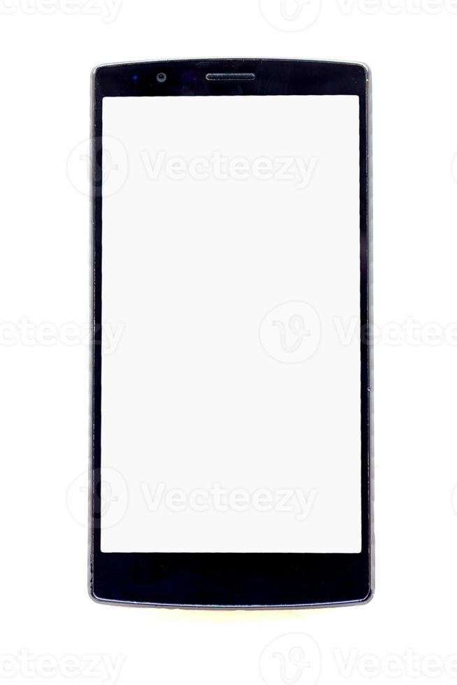 framifrån av modern smartphone isolerad på vit bakgrund foto