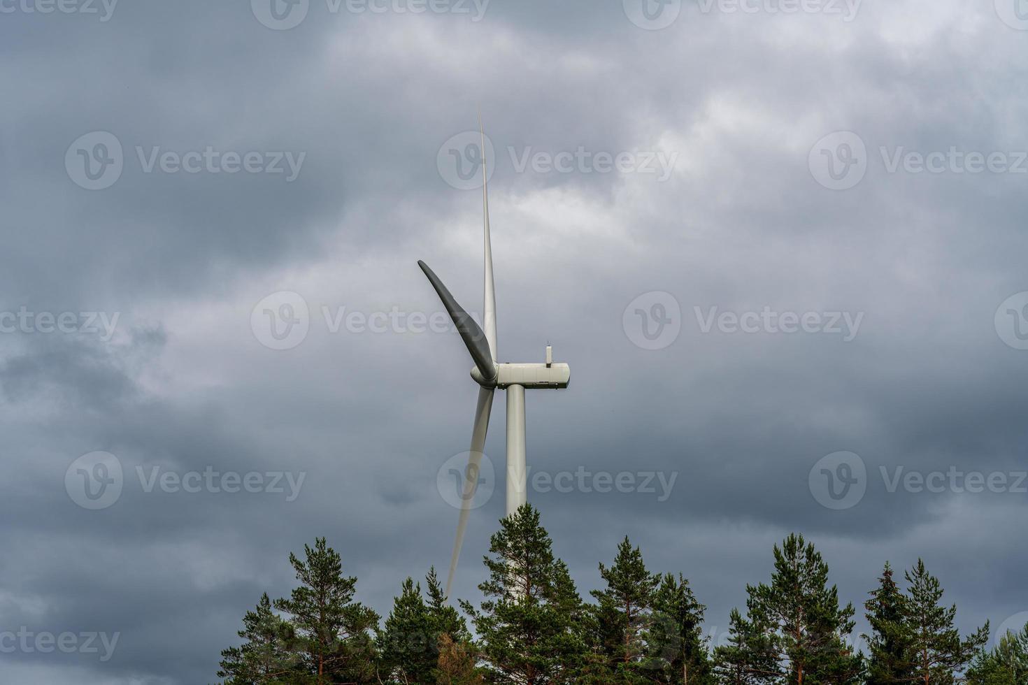 vindkraftverk som står bland träd mot en mörk molnig himmel foto