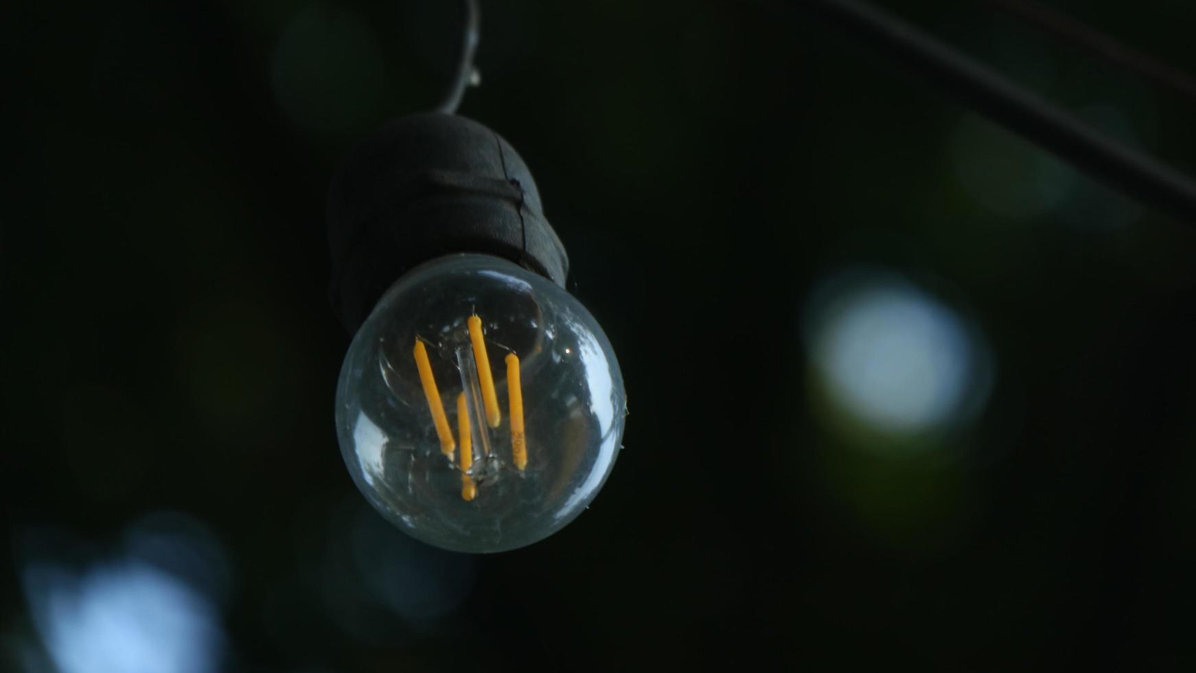 små lampor med bakgrund av bokeh -träd foto