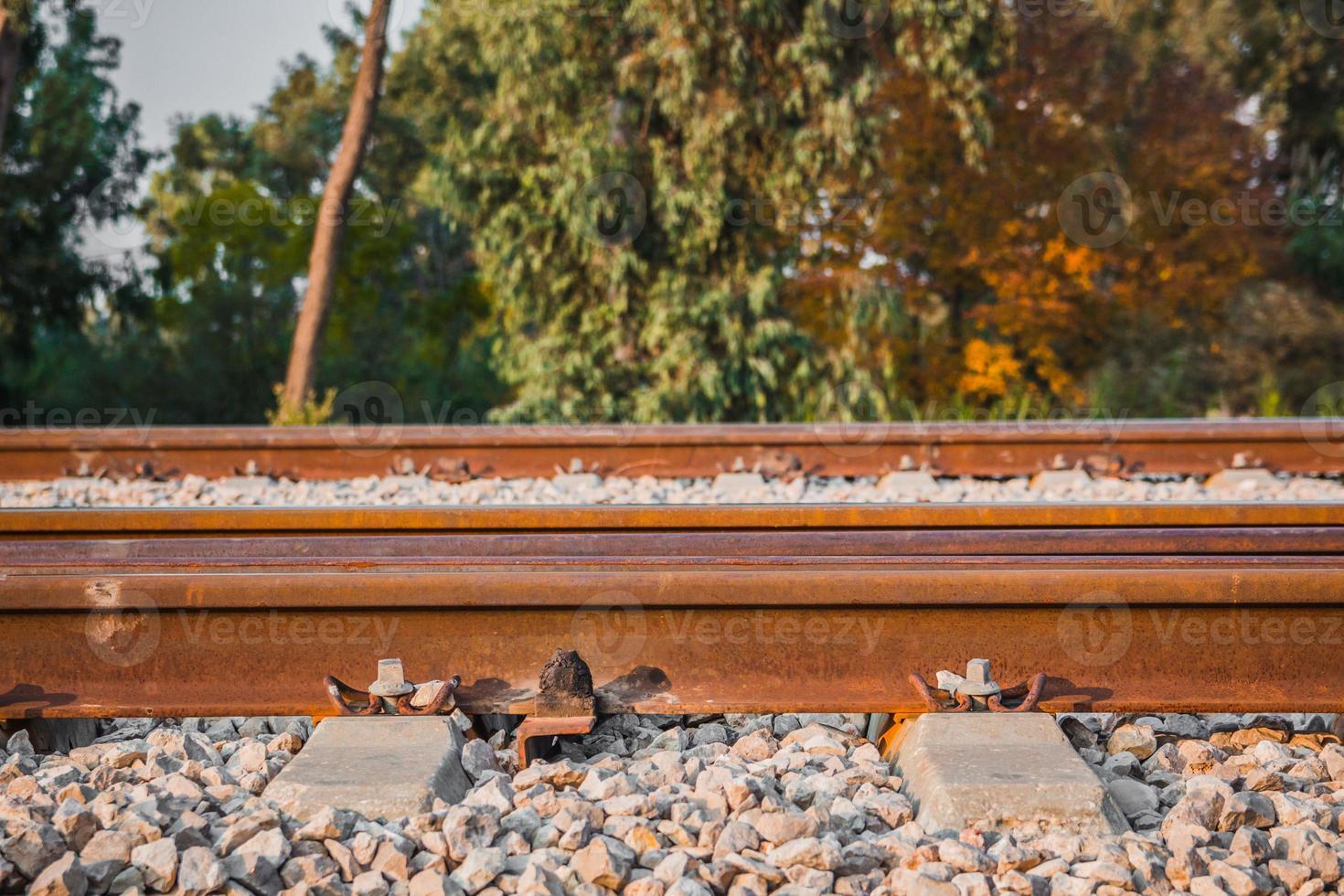 järnvägsspår på landsbygden på eftermiddagen foto