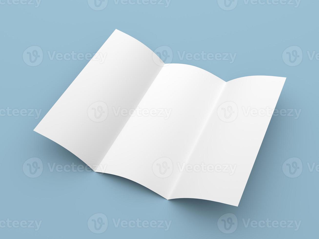 broschyr med broschyr i vitbok med tre gånger foto