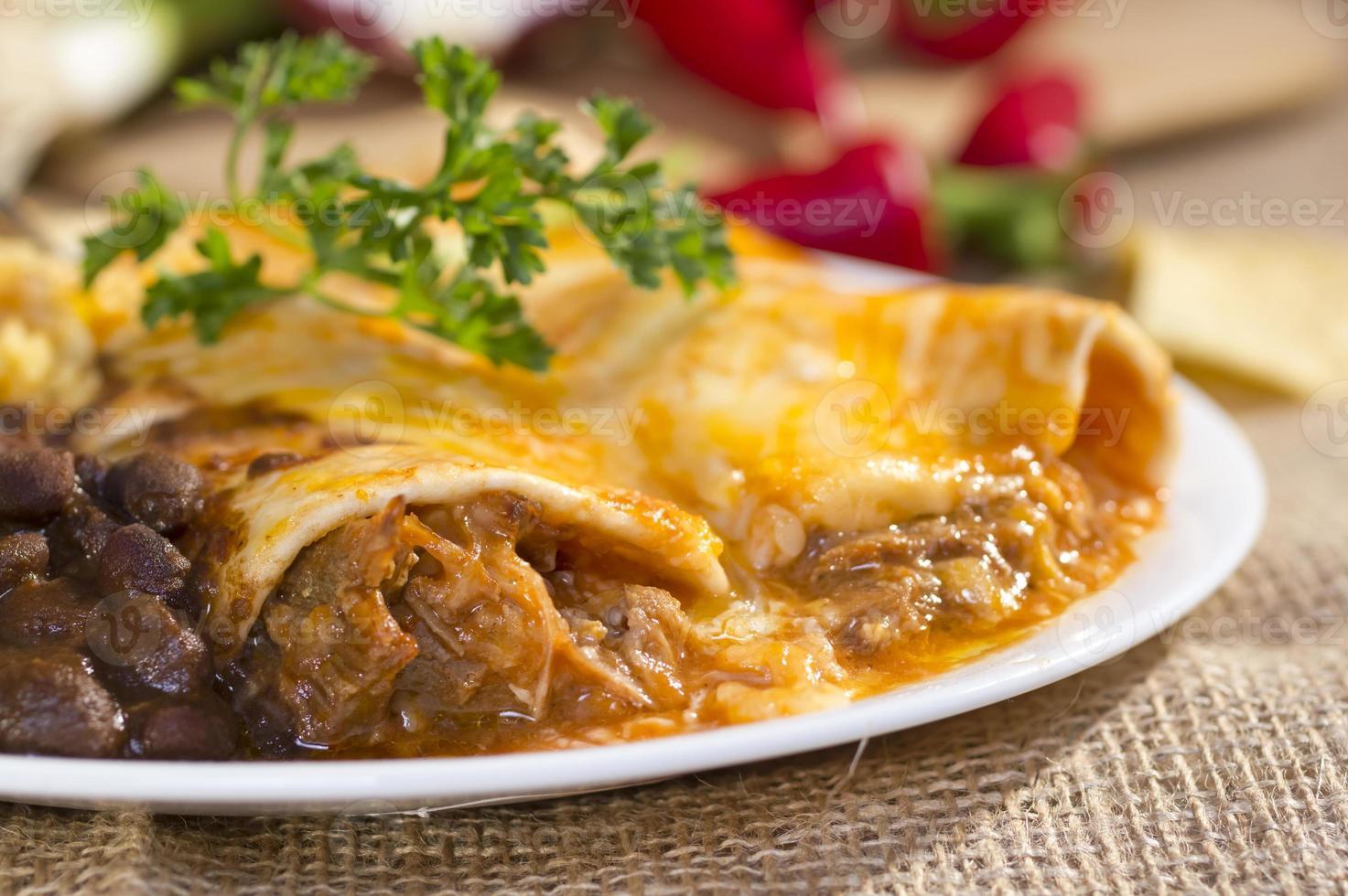 sydvästra nötkött enchilada. foto