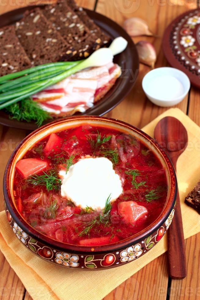 ukrainska soppa borsch foto