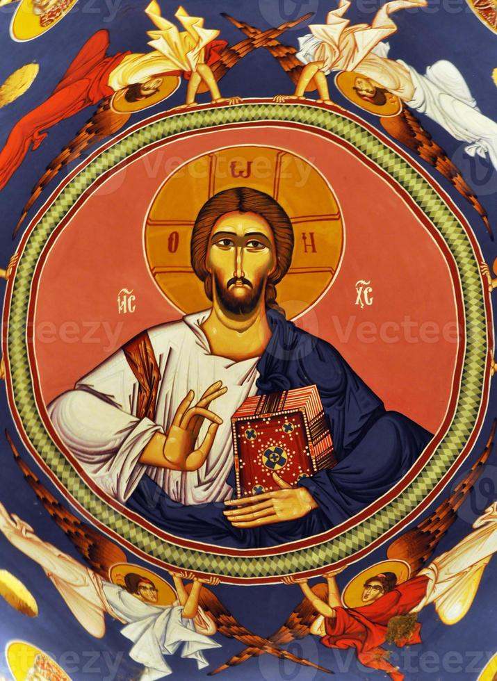 fresco av jesus christ på kupolen foto