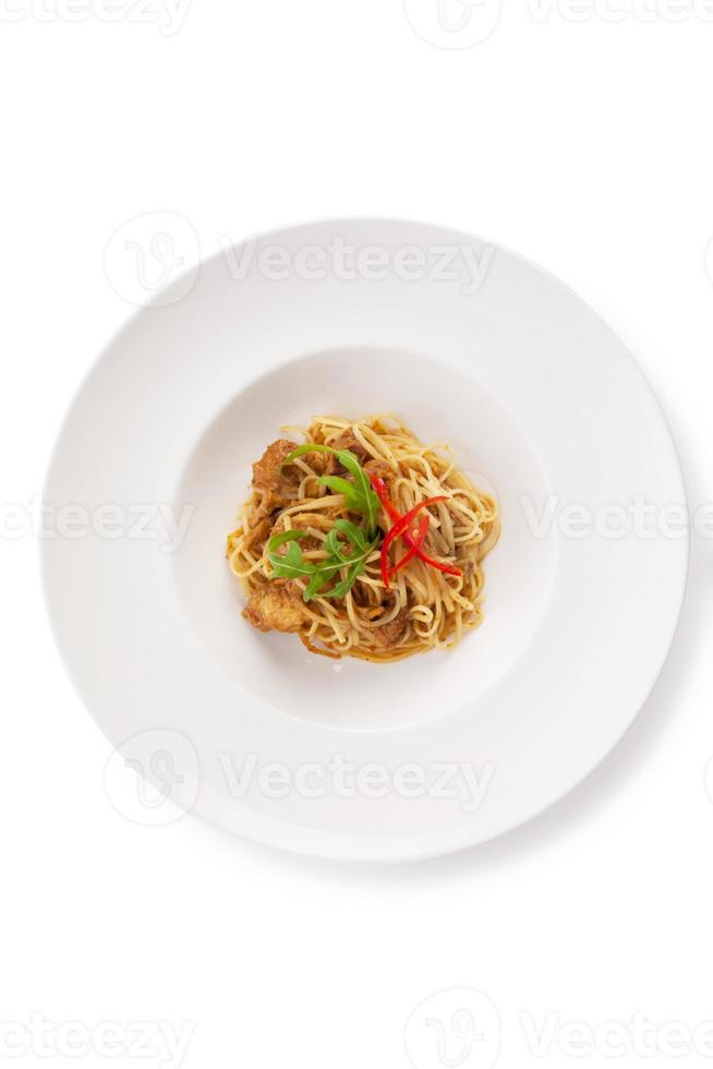 Thailändsk stil fusion spaghetti foto