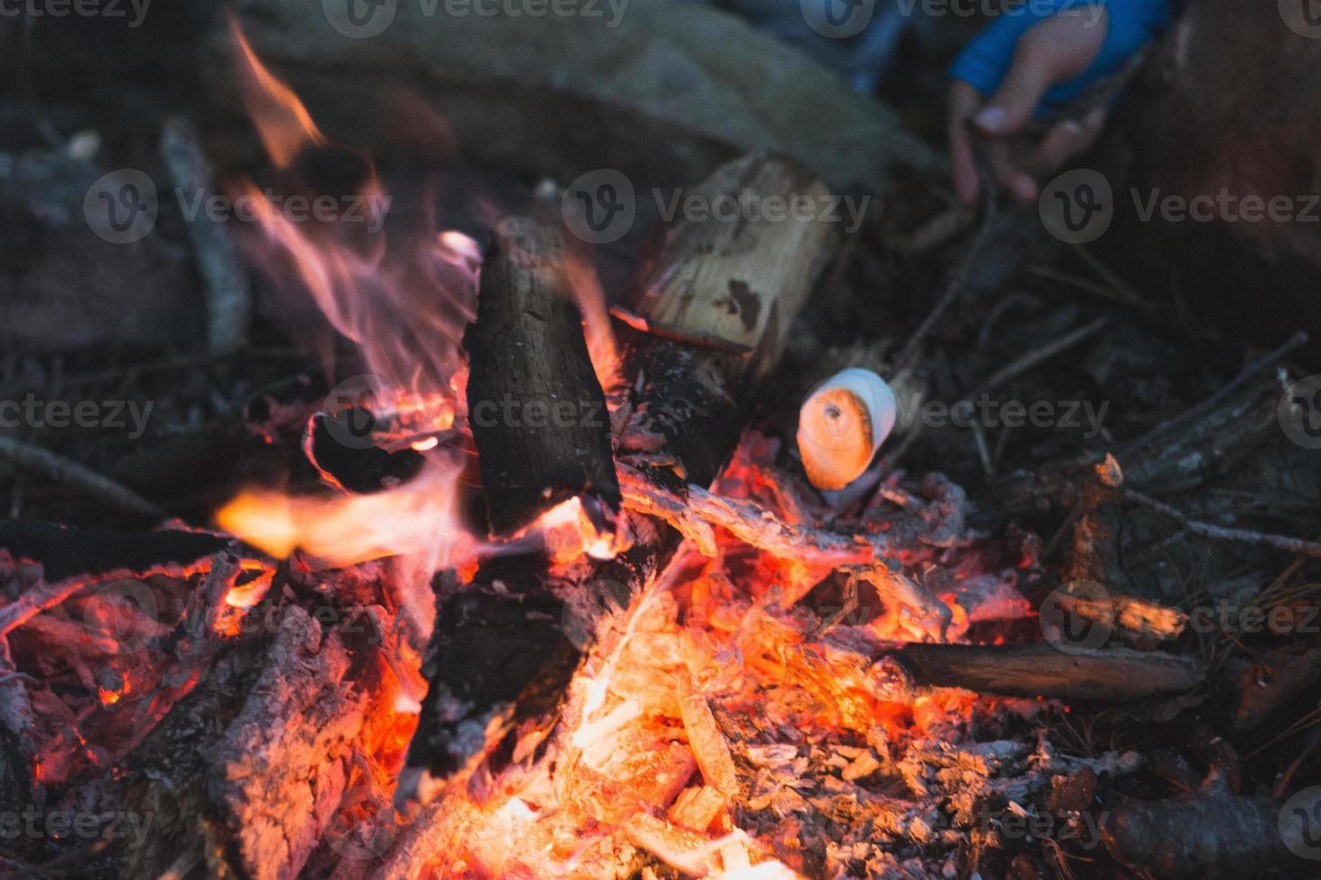 lägereldmatlagning foto