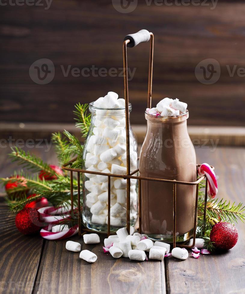 varm kakao med marshmallows foto