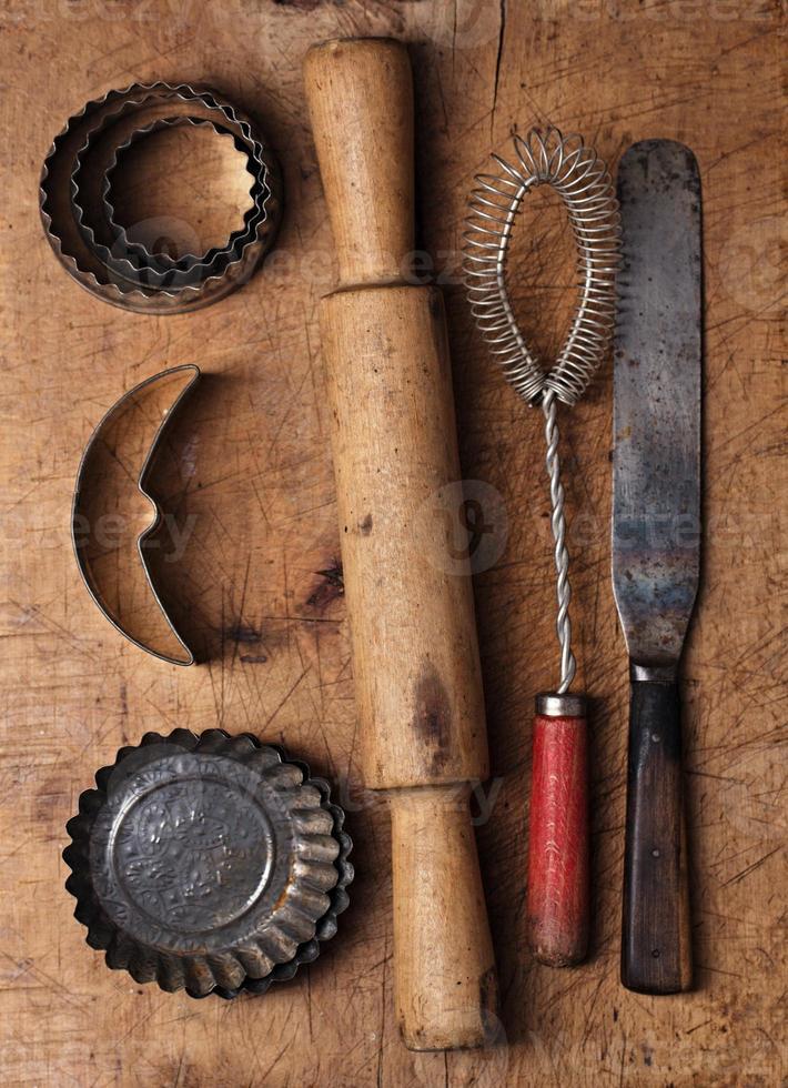 vintage bakning bakgrund foto