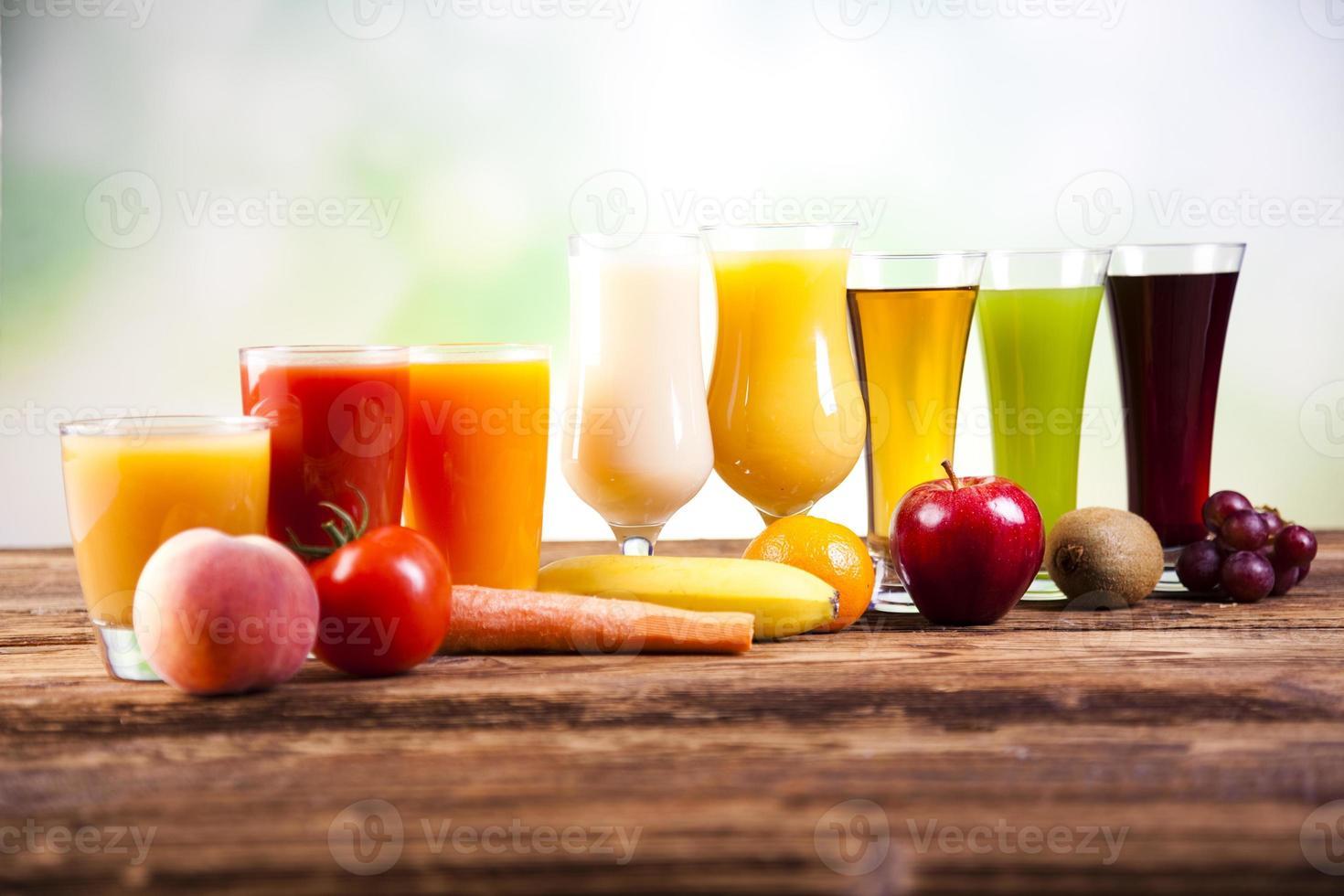 frukt, grönsaker, fruktjuicer, grönsakssaft, hälsosam mat foto