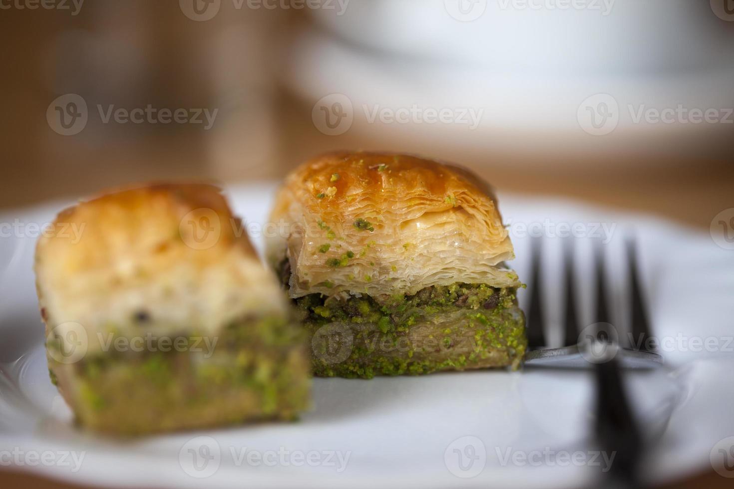perfekt baklava med pistasch foto